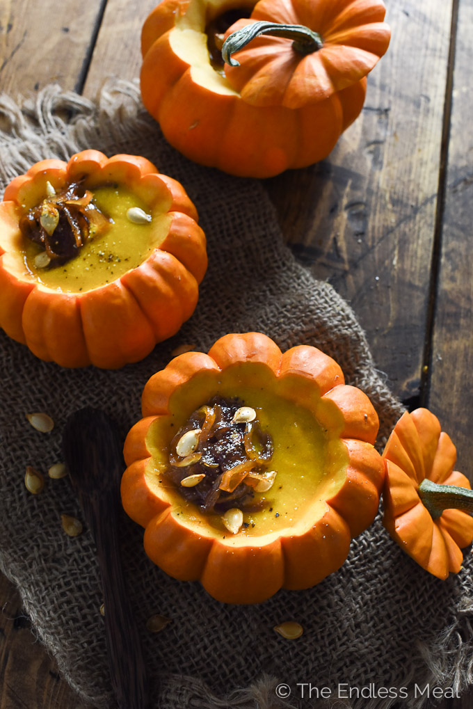 ? Curried Pumpkin Soup with Maple Ginger Caramelized Onions   theendlessmeal.com