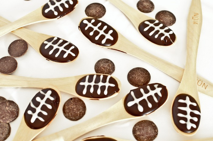 "Chocolate Orange ""Football"" Spoons for Super Bowl Sunday"