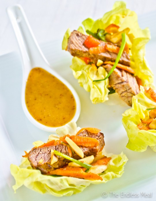 Bite Sized Appetizers: Steak Salad Lettuce Wraps