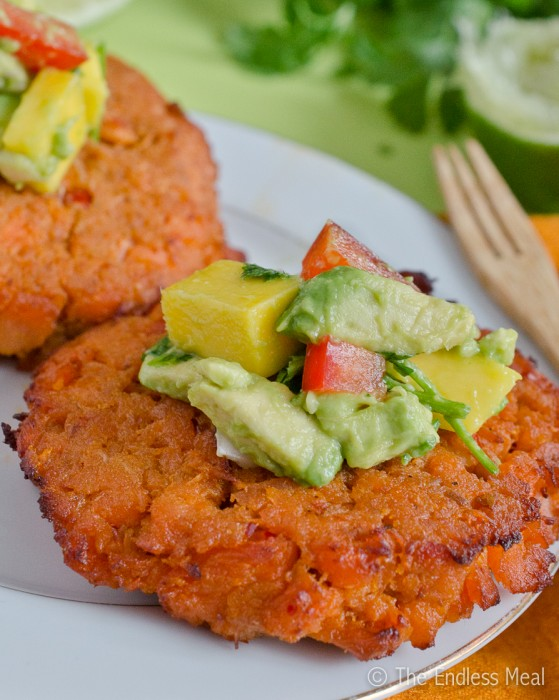 Gluten Free Thai Fish Cakes with Mango Avocado Salsa