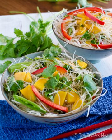 Thai Noodle Salad with Mangoes and Mint {vegan and gluten free}