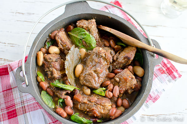 Pork Rib Stew with Beans, Tomatoes and Spinach