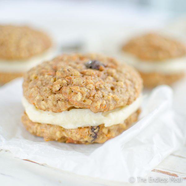 Oatmeal Carrot Whoopie Cookies with Cream Cheese Frosting