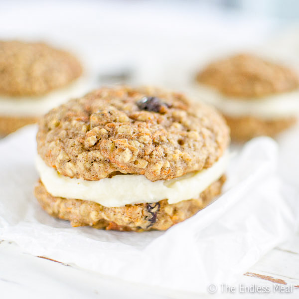 Oatmeal Carrot Whoopie Cookies with Cream Cheese Frosting | theendlessmeal.com