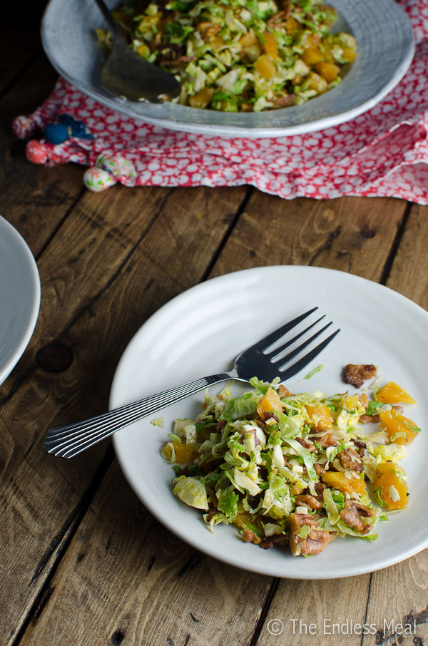 Shredded Brussels Sprouts Salad with Bacon, Walnuts and Apricots