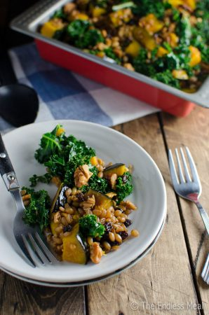 Wheat Berry Salad with Squash, Kale, Currants and Walnuts