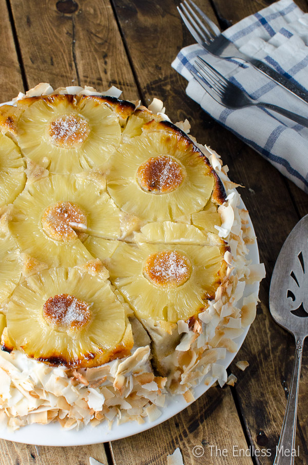 Frosted Coconut Pineapple Upside Down Cake | The Endless Meal