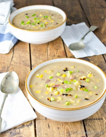 Grilled Corn and Bacon Chowder Soup (dairy free!)
