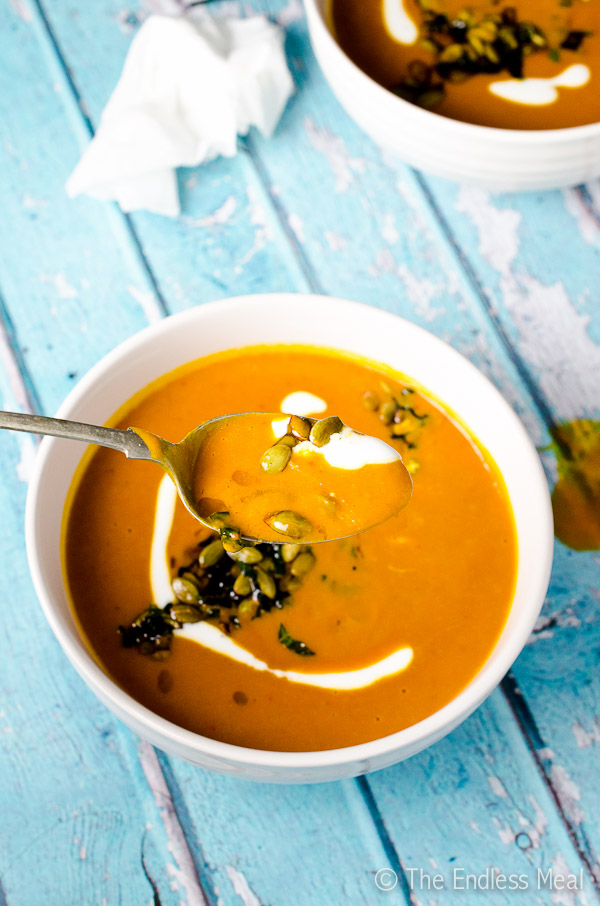 Spicy Harissa and Roasted Butternut Squash Soup-with-Toasted-Pumpkin-Seeds-and-Crispy-Mint-Leaves-600-6