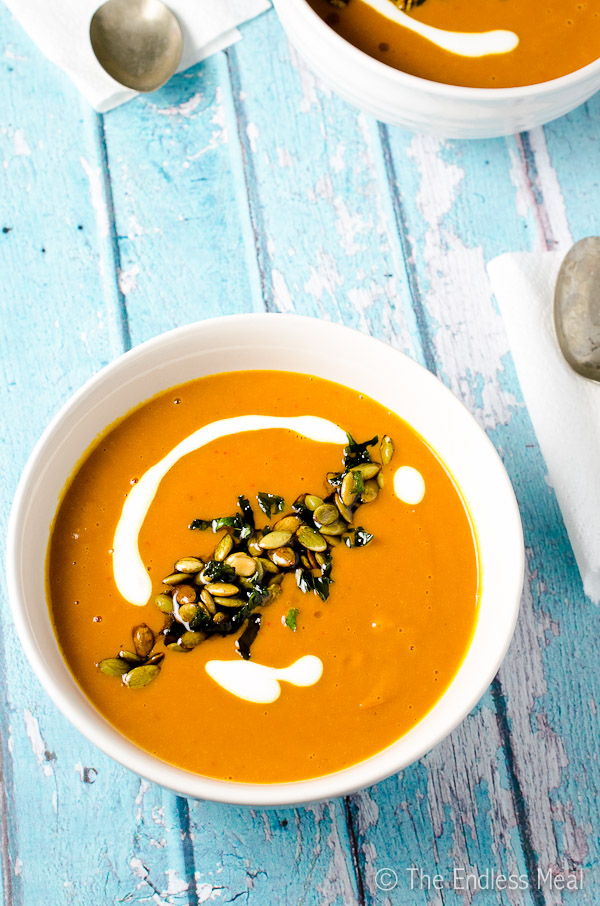 Spicy Harissa and Roasted Butternut Squash Soup with Toasted Pumpkin ...