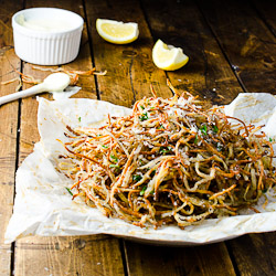 Baked Parmesan Rosemary Shoestring Fries with Lemony Garlic Mayo