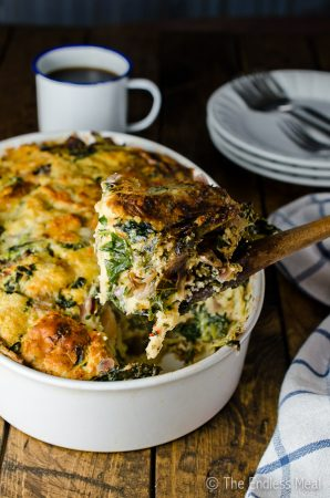 Gruyère White Cheddar and Kale Strata Recipe {aka: the best eggy cheesy bread-y thing ever}