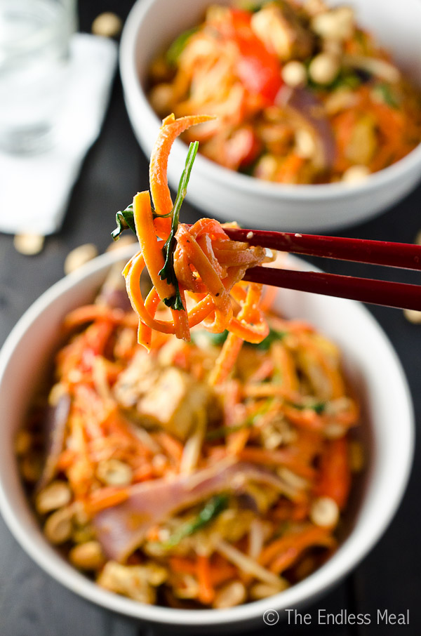 Carrot Noodles with Thai Peanut Sauce {vegan + gluten free}