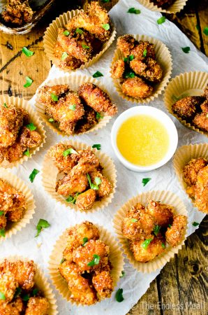 Chipotle Popcorn Chicken with Honey Mayo