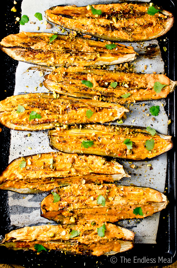 Roasted Eggplant with Creamy Harissa and Pistachios