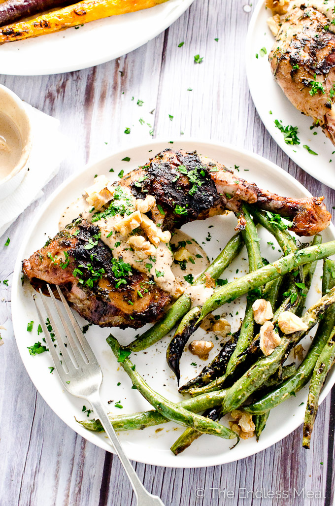 Grilled Mustard Chicken with Creamy Walnut Sauce