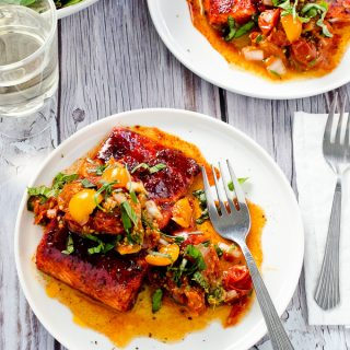Sweet and Smoky Baked Salmon with Warm Roasted Tomato Salsa