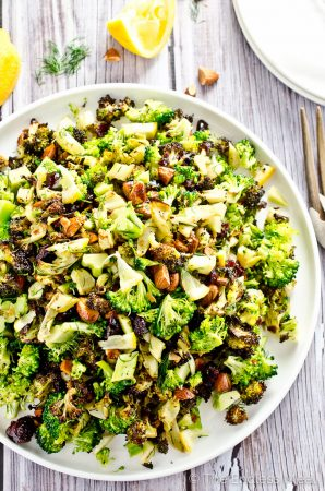 Roasted Broccoli Salad with Lemons and Almonds