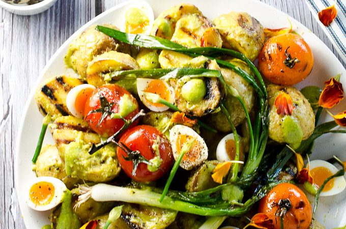 Grilled Potato Salad with Scallion Pesto, Blistered Tomatoes and Quail's Eggs