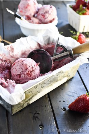 White Balsamic and Roasted Strawberry Ice Cream {ps. it's vegan!}