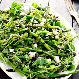 This simple Asparagus Salad with Reduced Balsamic Vinaigrette makes an easy and delicious side dish that is naturally paleo and gluten free :: theendlessmeal.com