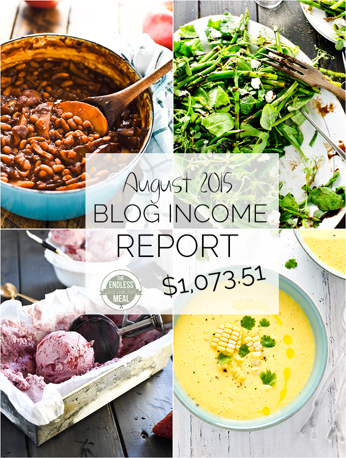 The Endless Meal's Food Blog Income Report for August 2015. Learn about how TEM earns an income, where the traffic comes from and get valuable food blogging tips.
