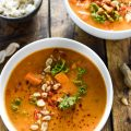 Coconut Red Lentil Peanut Soup | This hearty West African soup is easy to make and incredibly delicious. It makes the perfect Meatless Monday dinner. | theendlessmeal.com