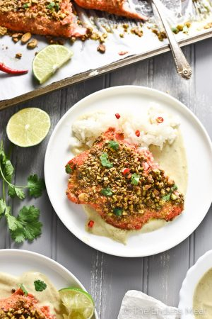 5-Ingredient Pistachio Crusted Salmon with Green Curry