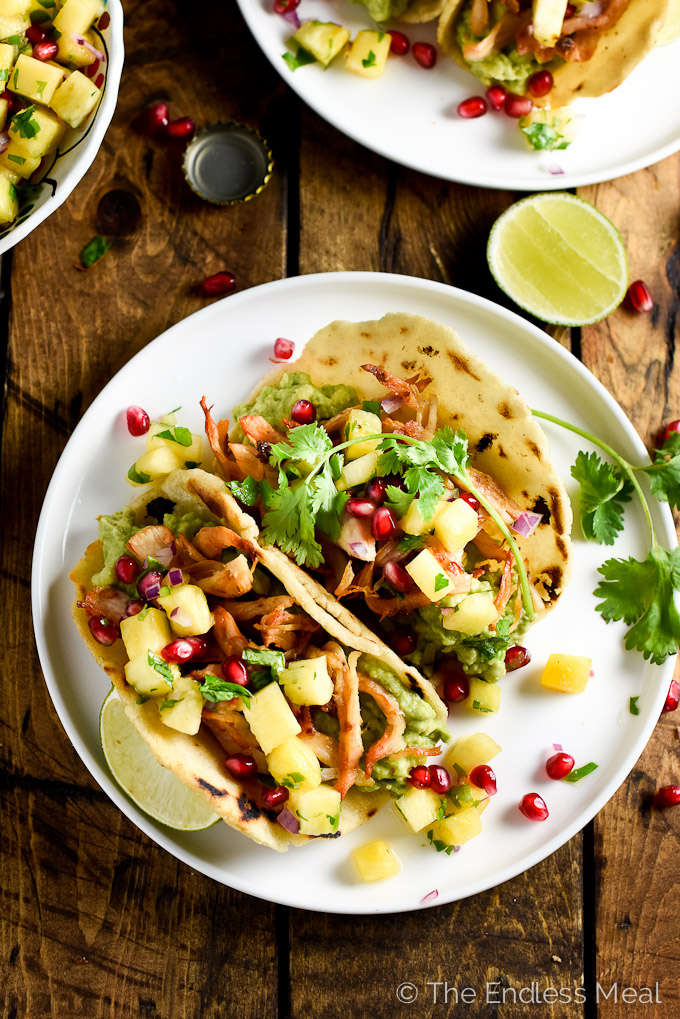Rotisserie Chicken Carnitas with Jalapeño Pineapple Salsa | theendlessmeal.com