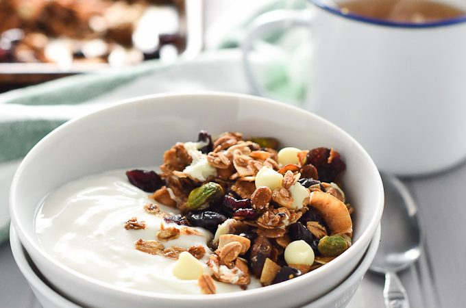 Pistachio, White Chocolate and Cranberry Granola | not just for Christmas, this breakfast is delicious all year round. | theendlessmeal.com