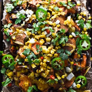 Loaded Sweet Potato Nachos. | A healthy and delicious casual dinner recipe or Super Bowl appetizer. | theendlessmeal.com