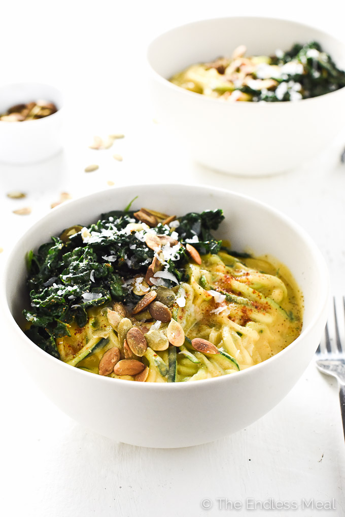 Healthy Pumpkin Alfredo with Wilted Garlic Kale | theendlessmeal.com