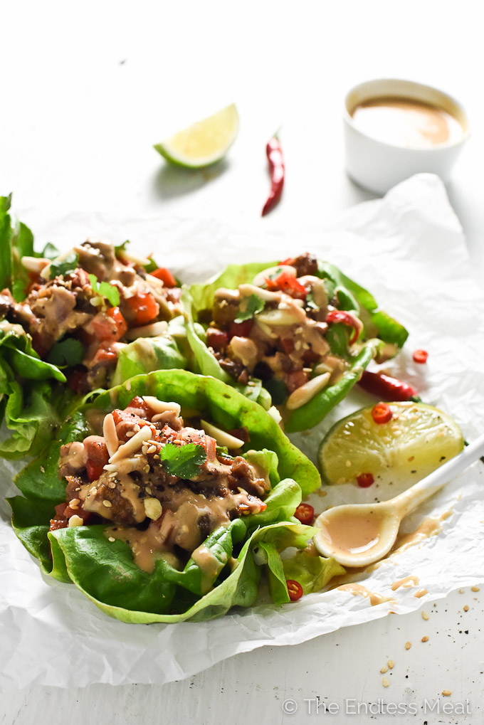 Thai Lettuce Wraps with Ginger Lime Satay Sauce. | Made with healthy, Veggemo milk. | theendlessmeal.com