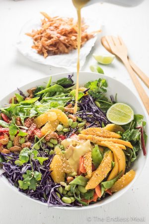 Thai Chopped Salad with Sweet Sesame Mango Dressing and Crispy Wontons