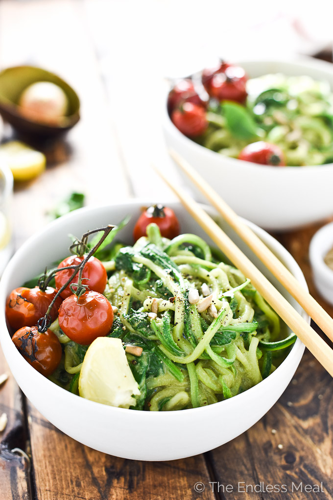 Creamy Avocado Pesto Zucchini Noodles by The Endless Meal | The 15 Best Summer Vegetable Noodle Dishes