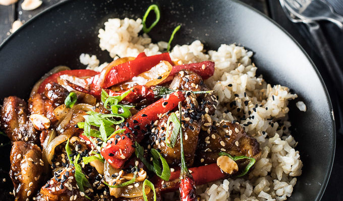 Spicy Kung Pao Chicken is a quick and easy dinner recipe you will absolutely love. | theendlessmeal.com