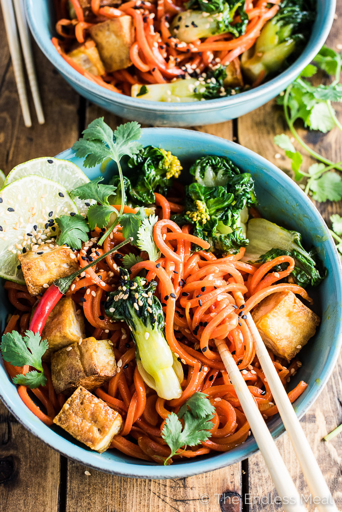 Sesame Ginger Carrot Noodle Stir Fry with Bok Choy and Crispy Tofu is ...