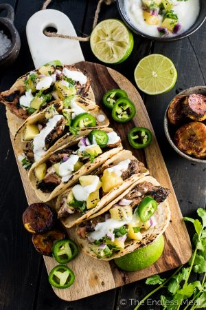 Grilled Jerk Chicken Tacos with Gold Kiwifruit Salsa and Sweet Coconut Plantains