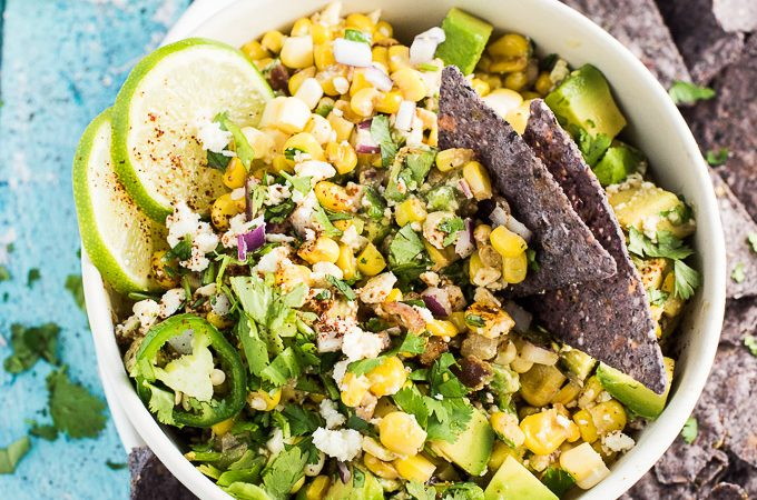 Lightened Up Mexican Corn Dip with Avocado and Jalapeno by The Endless Meal | The 15 Best Party Dips