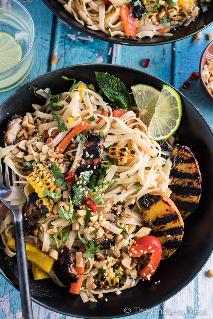Summer peach and grilled chicken pad thai the endless meal for Healthy chicken pad thai
