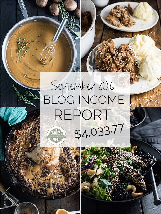 The Endless Meal's food blog income report for September 2016. Learn actionable blog monetization and traffic building strategies that you can implement on your own blog. | theendlessmeal.com