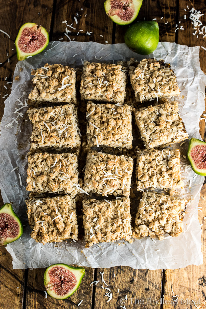 These delicious Coconut Fig Squares are a lot like date squares, only made with fresh green figs. Add these vegan bars to your list of must-make dessert recipes during fig season! | thendlessmeal.com