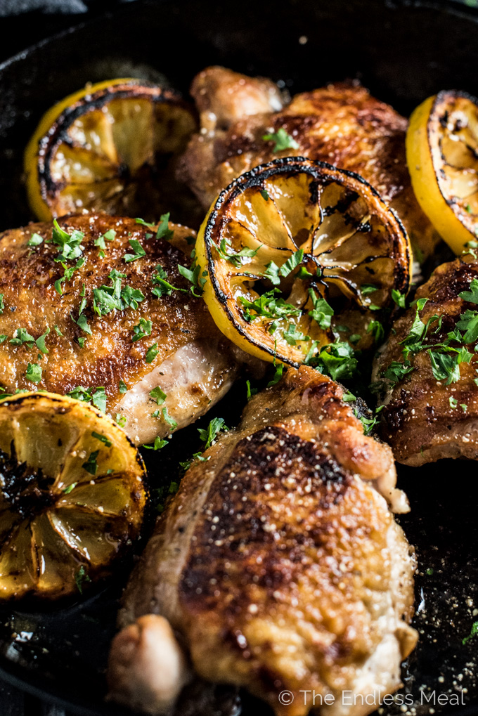 Honey Lemon Chicken is pan-seared on your stovetop then cooked in a lightly sweetened lemony sauce. It's a crazy easy (and PALEO!) dinner recipe and a true crowd-pleaser. | theendlessmeal.com