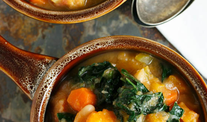 Butternut Squash White Bean Kale Stew by Table for Two | The 15 Best Healthy Halloween Dinners