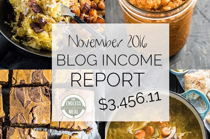 Food Blog Income Report for November 2016. Learn traffic building and blog monetization strategies used by The Endless Meal. | theendlessmeal.com
