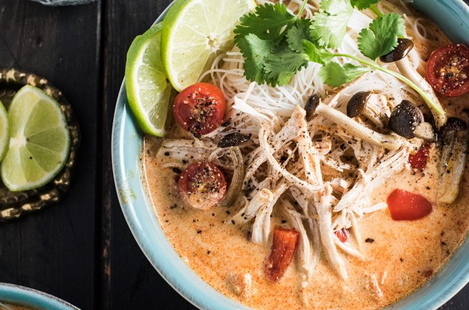 Crock Pot Thai Chicken Soup is a lightened up, and super easy to make, version of Thai chicken curry. It's also one of the few slow cooker chicken recipes that cooks for 8-10 hours so you can pop everything in before work and come home to dinner. This has turned into one of our favorite healthy recipes! | theendlessmeal.com