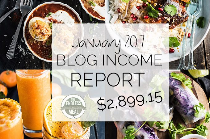 Food Blog Income Report for January 2017. Learn traffic building and blog monetization strategies used by The Endless Meal. | theendlessmeal.com