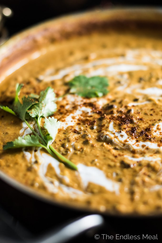 Coconut Black Lentil Curry is a creamy and crazy delicious vegan curry recipe. Using coconut milk instead of heavy cream keeps this buttery dal makhani dairy free without losing any of the richness you crave. | theendlessmeal.com