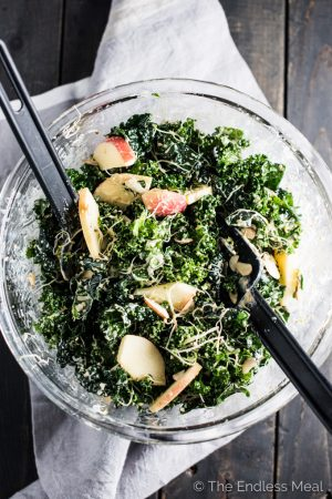 Creamy Kale Salad with Maple Tahini Dressing