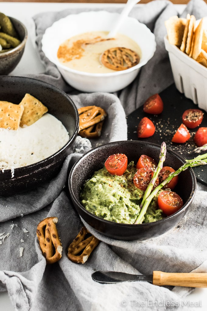 Knowing how to make a few simple and easy party dips can save you when company stops by. These three have only 5 ingredients each and take less than 5 minutes to make. So easy! | theendlessmeal.com